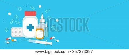 Blue Banner With Medications. Space For Text