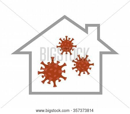 Virus In A House Quarantine Info Graphic Vector Illustration Eps10