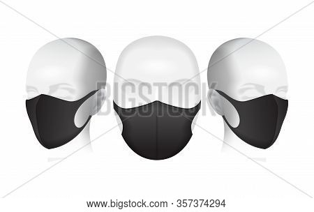 Protective Mask. Black Dust Mask On The Mannequins Head. Air Pollution Vector Illustration