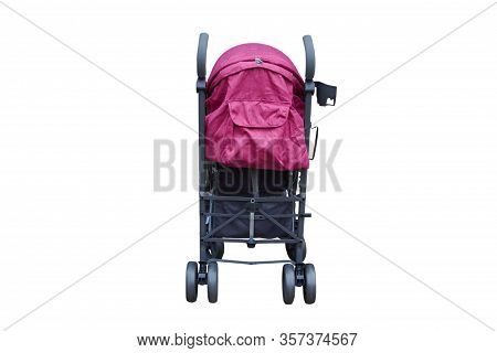 Baby Stroller In The Back, Gray With Pink Baby Stroller Isolated On White Background Rear View, New