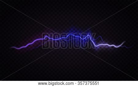 Lightning Flash Effect. Realistic Electric Lightning, Abstract Thunderstorm. Lightning Shock Isolate