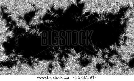 Frosted Frame From Borders To The Center. Frosted Patterns On The Glass. 3d Rendering.
