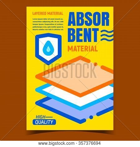 Absorbent Material Promo Advertising Poster Vector. Waterproof Layered Material. Baby Diapers, Napki