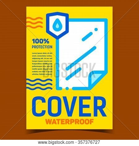 Waterproof Cover Creative Advertise Poster Vector. Water Drop Protection Cover. List Of Protective M