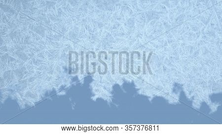 Frosted Frame From Top To The Bottom. Frosted Patterns On The Glass. 3d Rendering.
