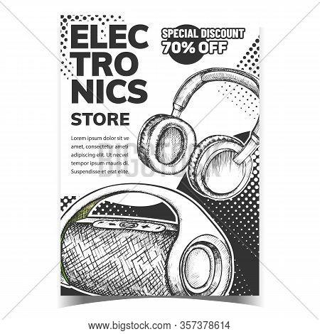 Electronics Store Discount Advertise Banner Vector. Wireless Speaker And Earphones Digital Gadget El
