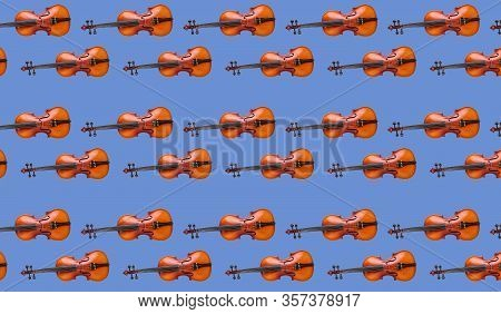 Violin Seamless Pattern On Blue Background. Seamless Pattern Violin Music Instrument. Minimalistic C