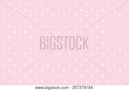Polka Dot Seamless Pattern. White Dots On Pink Background. For Plaid, Tablecloths, Clothes, Shirts,