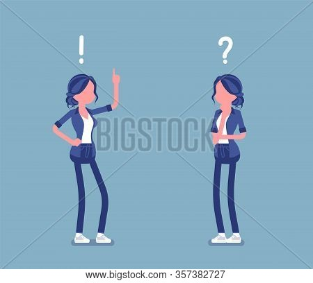 Problem, Solution, Woman Thinking, Question, Exclamation Mark. Girl In Problems Analysis, Finding Ef