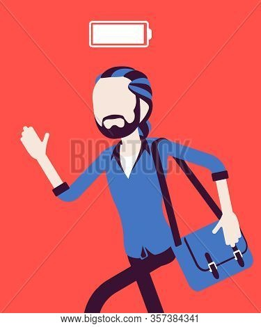 Fully Charged Active Man Running, Power Battery Icon. Energetic Young Actively Working Guy In Moveme