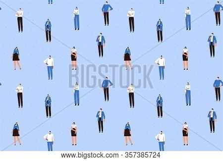 Seamless Pattern. People In Medical Masks Stand At A Safe Distance From Each Other. The Fight Agains