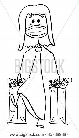 Vector Cartoon Stick Figure Drawing Conceptual Illustration Of Woman Wearing Face Mask Carrying Shop
