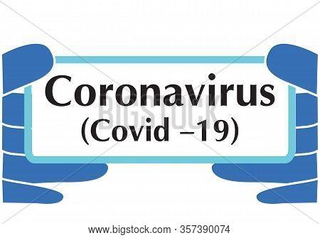 Covid 19 Coronavirus Vector Banner Gloves. Coronovirus, White Background