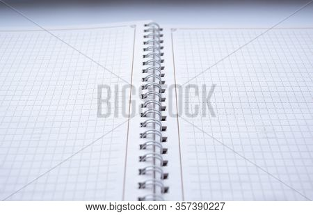 Notebook Binding With White Blank Sheet In Detail