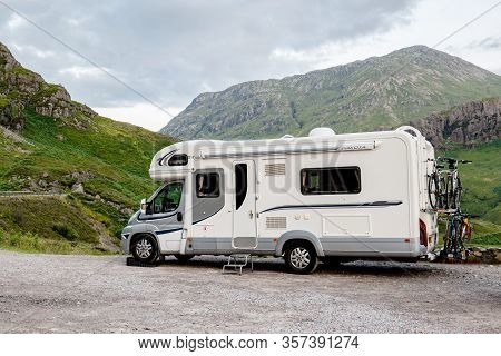 Scottish Highlands, Great Britain - August 2, 2019: Fiat Ducato Maxi Caravan Of The Motorhome Hire C