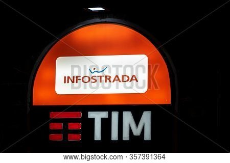 Palermo, Sicily - February 8, 2019: The Logo Of The Tim Group (telecom Italia) And Infostrada At The