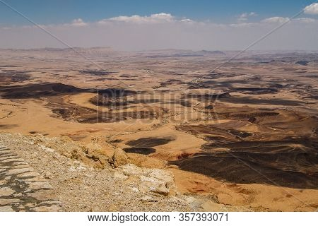 Viewpoint From Mitzpe Ramon Village On The Huge Crater In Negev Desert Of Israel