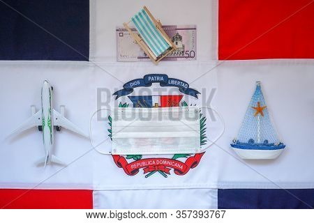 Layout: Dominican Republic Flag, Plane, Deck Chair, Dominican Peso, Ship. The Concept Of Quarantine