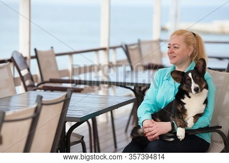 An Adult Woman Is Sitting In A Cafe Holding Her Dog Welsh Corgi Cardigan. Copyspace. The Concept Of