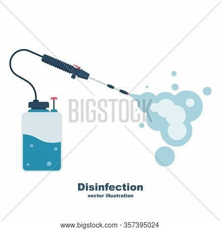 Cleaning And Disinfecting Coronavirus. Atomizer And Sprayer. Pandemic Risk. Vector Illustration Flat
