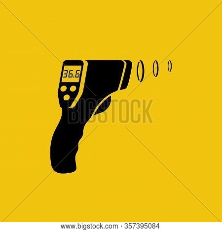 Black Silhouette Digital Non-contact Infrared Thermometer. Medical Glyph Thermometer Measuring Body