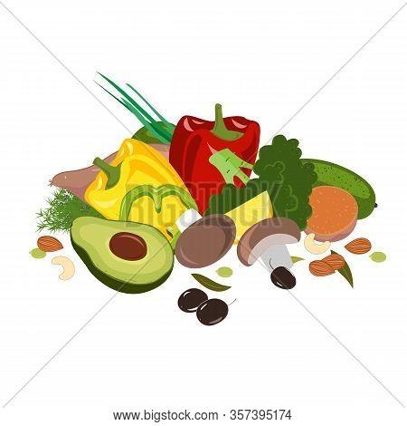 Fasting Mimicking Diet Food, Fmd Products Vector Illustration. Vegetables, Mushrooms, Olives, And Nu