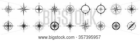 Compass Icons Set. Black Compass Icons Isolated. Vector Illustration.