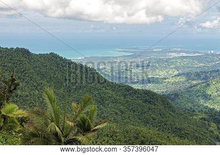 Luquillo Mountains Overlooking El Yunque Rainforest And Atlantic Coast In Puerto Rico
