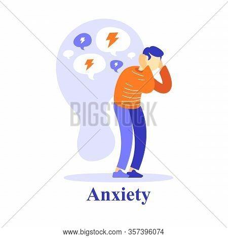 Man Character Negative Thinking, Self Esteem Or Doubt, Mental Health Problem, Psychological Help, Co