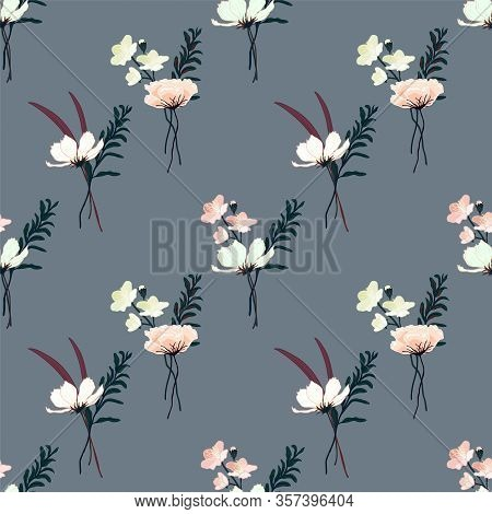 Decorative Seamless Floral Pattern With Hand Drawn Vintage Flowers. Wallpaper With Lily, Camellia Ro