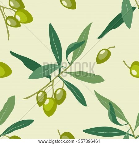Decorative Seamless Pattern With Hand Drawn Olive Tree Branch With Ripe Green Olives And Leaves On B