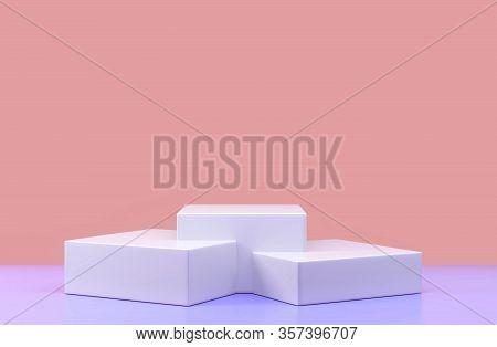 Round Podium, Pedestal Or Platform, Cosmetic Background For Product Presentation. 3d Illustration. B