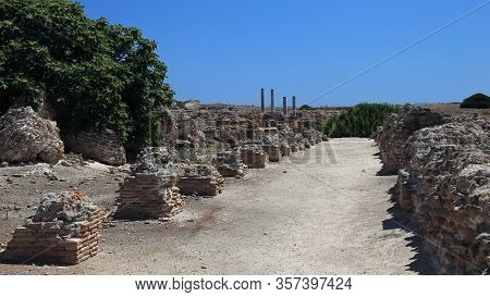 Old Stone Fortress Ruins Excavations, Sardinia, Italy