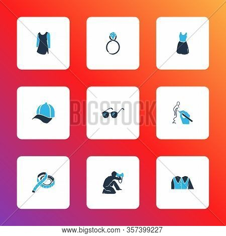 Fashion Design Icons Colored Set With Cap, Sleeveless Dress, Measuring Tape And Other Sundress Eleme