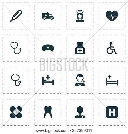 Antibiotic Icons Set With Pulse, Stethoscope, Invalid And Other Physician Elements. Isolated Illustr