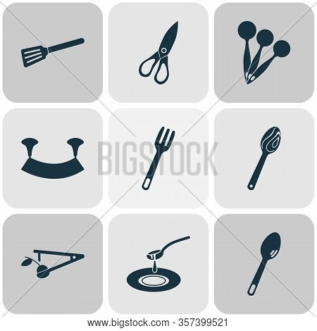 Utensil Icons Set With Measuring Spoon, Tableware, Turner And Other Spatula Elements. Isolated Vecto