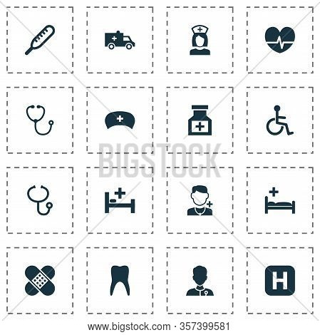 Antibiotic Icons Set With Pulse, Stethoscope, Invalid And Other Physician Elements. Isolated Vector