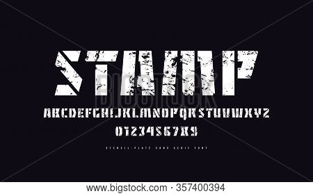 Stencil-plate Sans Serif Font. Letters And Numbers With Rough Texture For Military And Sport Logo De