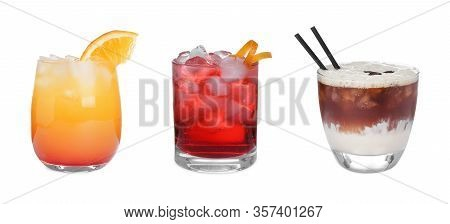 Set Of Tasty Alcoholic Cocktails Isolated On White
