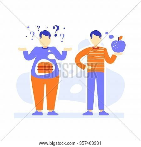 Fat And Slim Men, Thick And Thin Male Person Comparison, Obesity And Fit Body, Overweight Or Over Co