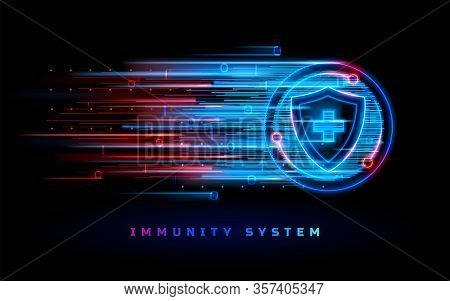 Immunity System Protection Shield, Coronavirus Antiviral Vaccine Medicine, Vector Neon Line Backgrou