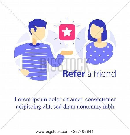 Refer A Friend Concept, Referral Program, Two People Talking, Recommend Application, Business Promot