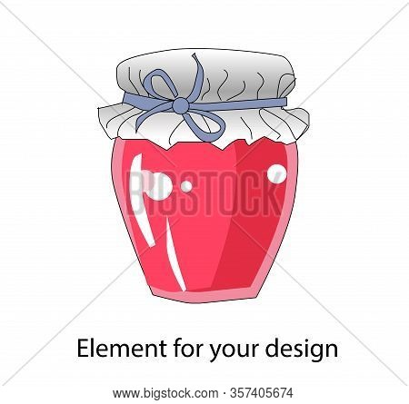 Jar Of Jam. Jam. Sweet Canning. Vector Illustration Isolated On A White Background..