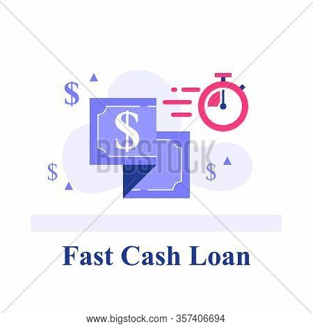 Fast Cash Loan, Dollar Bill And Stopwatch, Financial Solution, Micro Lending, Easy Money Transfer, F