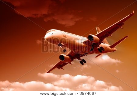 Jet-Flugzeug Landung