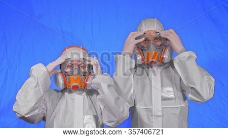 Doctor Health Worker In Respirator. Slow Motion. People Portrait, Wearing Protect Medical Antibacter