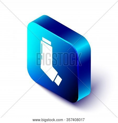 Isometric Inhaler Icon Isolated On White Background. Breather For Cough Relief, Inhalation, Allergic