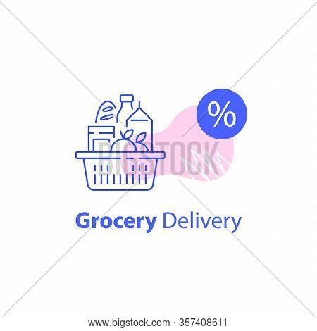 Full Shopping Basket, Grocery Store, Supermarket Special Offer, Food Delivery, Consumption Concept,