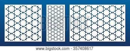 Laser Cut Panel Set. Vector Template With Abstract Geometric Pattern In Oriental Style, Floral Grid