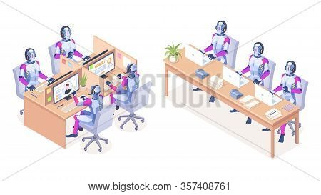 Robots With Computers Working At Call Center. Ai Technology For Helpline Or Telemarketing, Telesale.